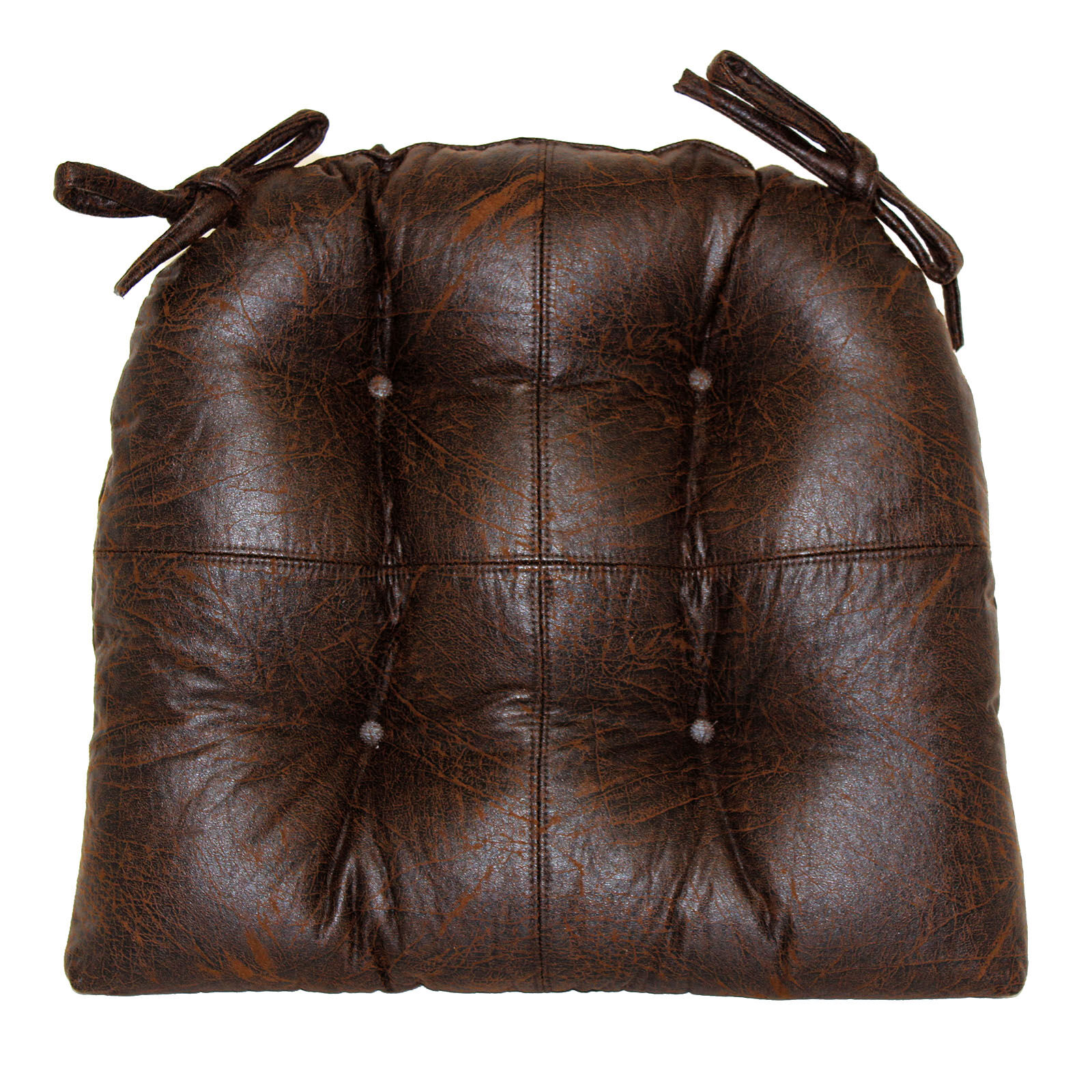 Faux Leather Brown Chair Pad  At Home