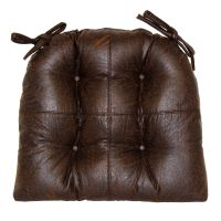 Faux Leather Brown Chair Pad | At Home