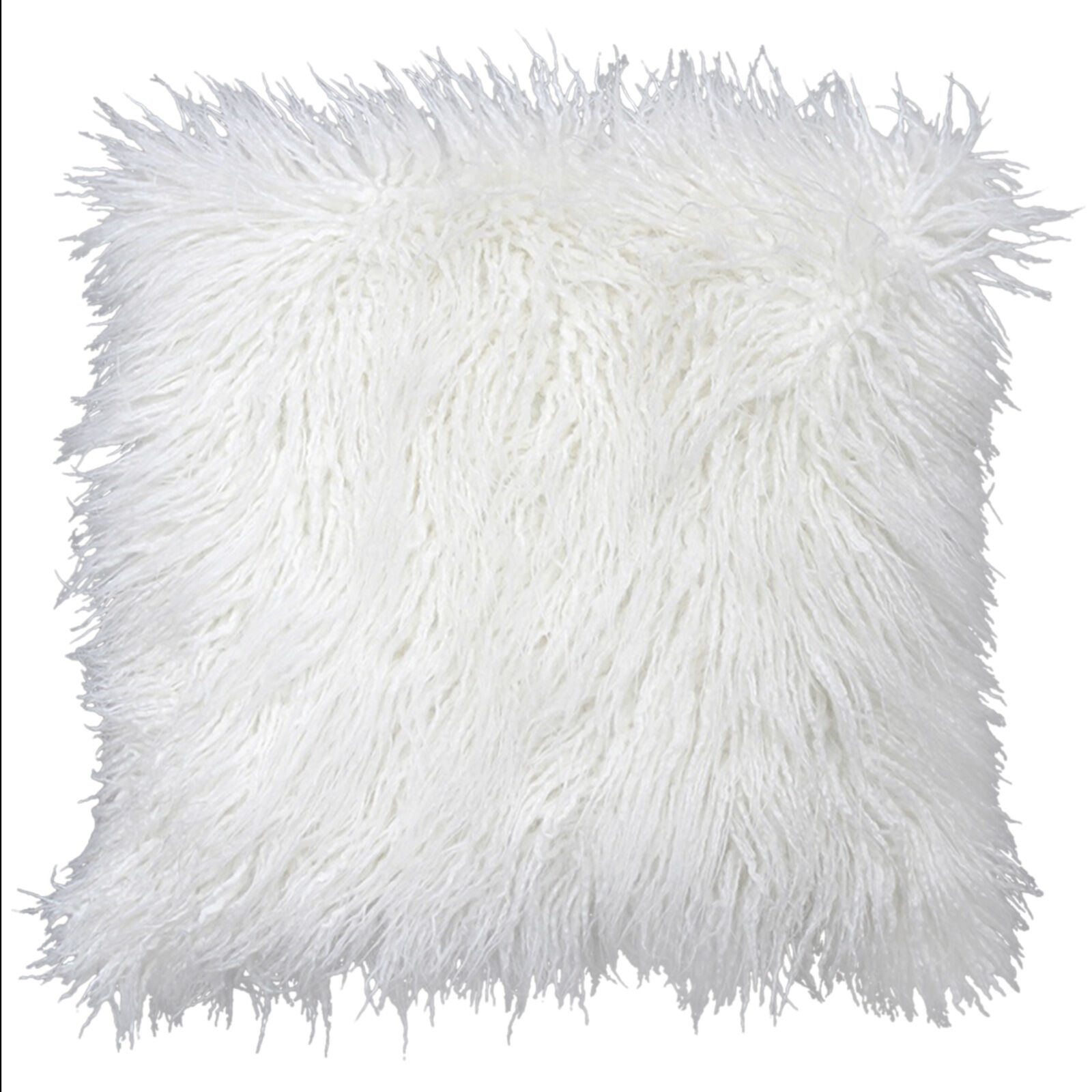 White Mongolian Fur Pillow 18in  At Home