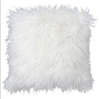 White Mongolian Fur Pillow 18-in | At Home