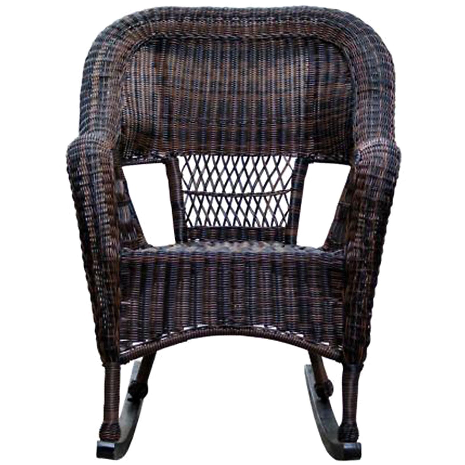 Dark Brown Wicker Outdoor Patio Rocking Chair Home
