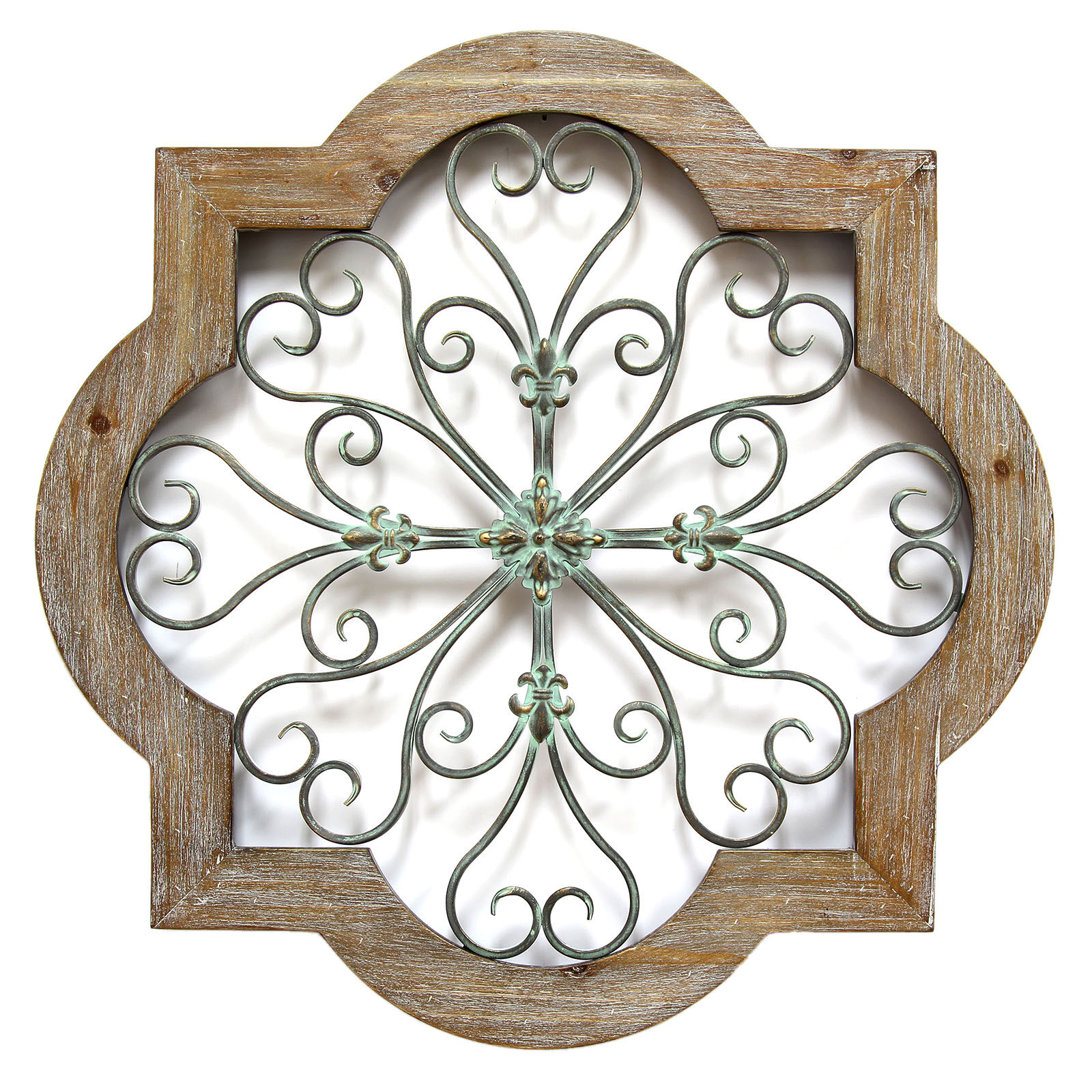 Wood And Metal Quatrefoil Wall Decor 24 In At Home