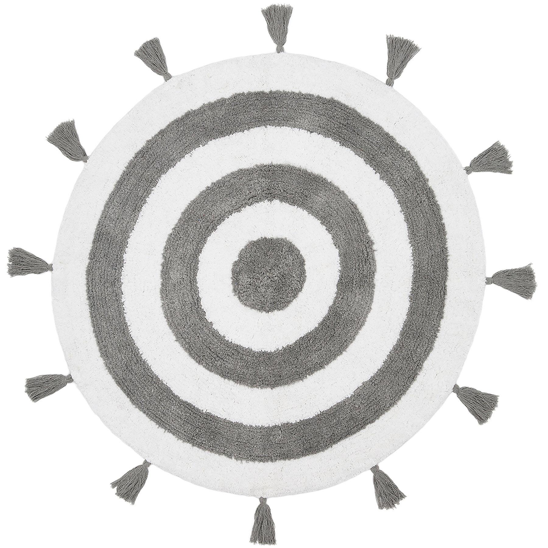 Zane Grey White Round Rug 30 In At Home