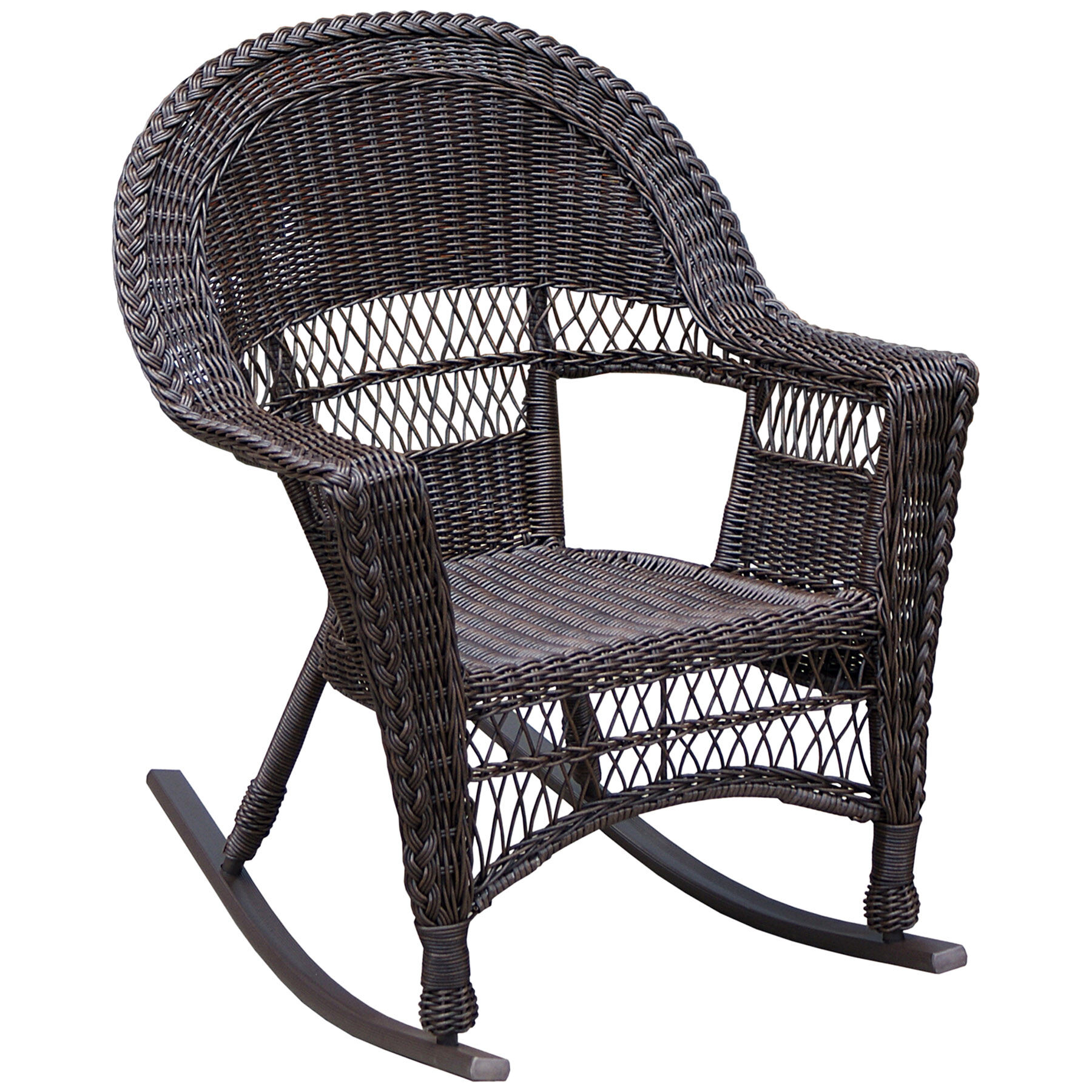 Wicker Rocking Chair Dark Brown  At Home