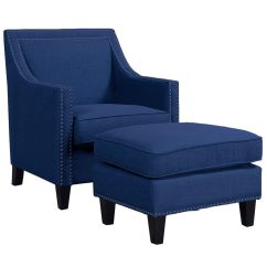 Blue Accent Arm Chair Pop Up Beach Chairs Erica With Stud Detail At Home