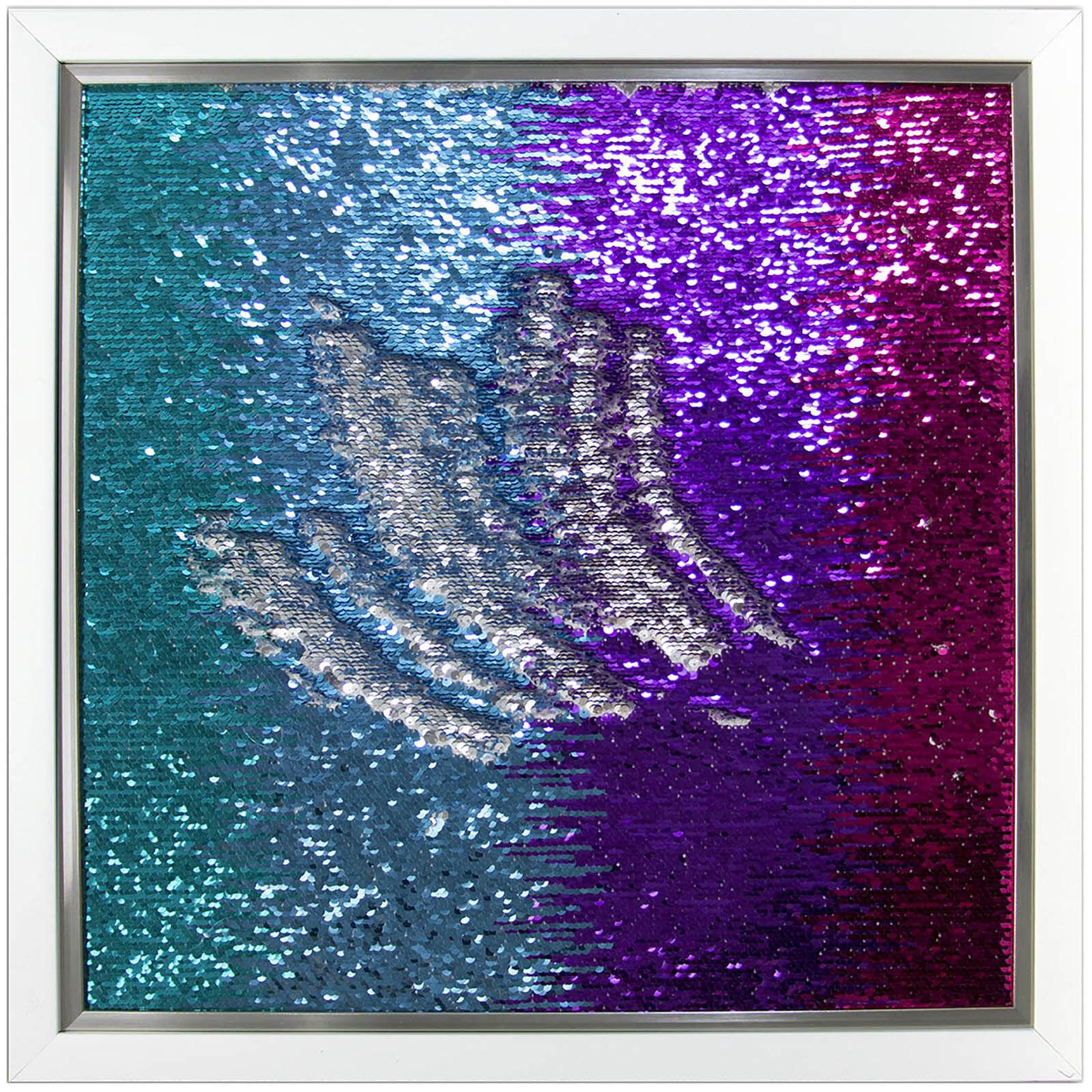 Blue Purple Mermaid Sequin Wall Art- 20 X 20-in. Home