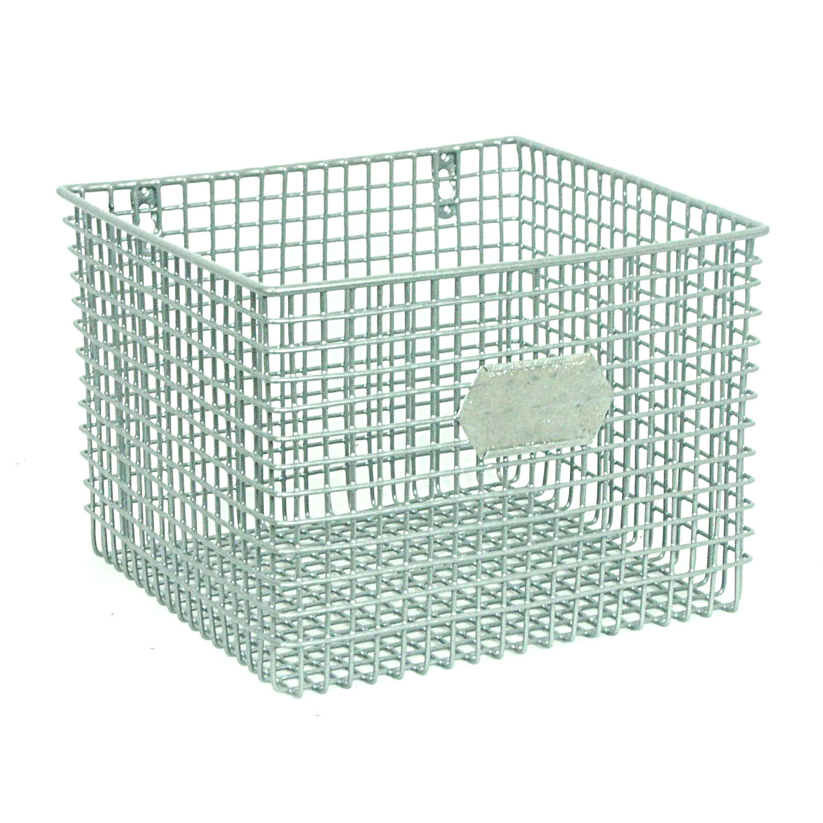 Square Metal Mesh Wall Basket  Silver  At Home