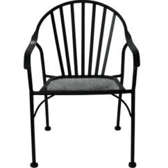 Black Metal Outdoor Chairs Diy Dining Room Chair Upholstery Wrought Iron Slat Patio At Home