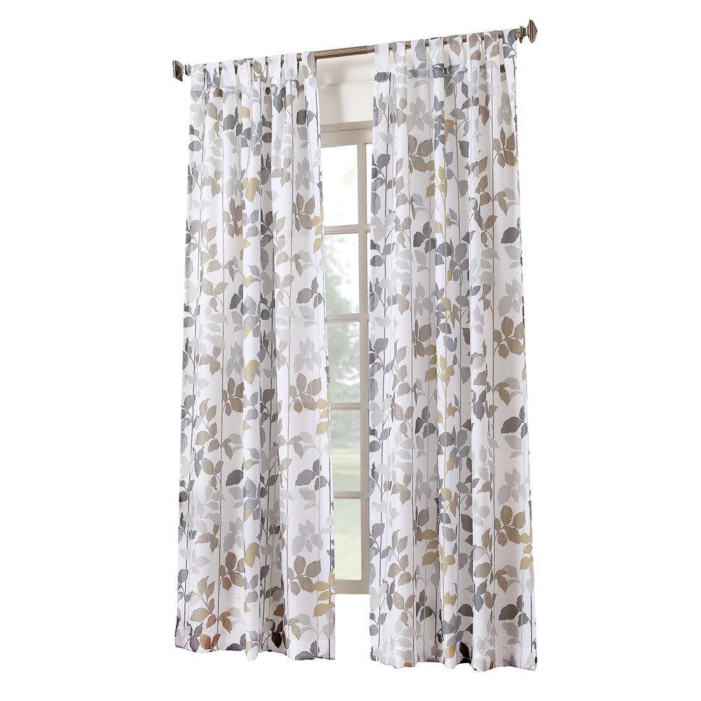 White Dorado Pattern Tab Top Window Curtain Panel 84in