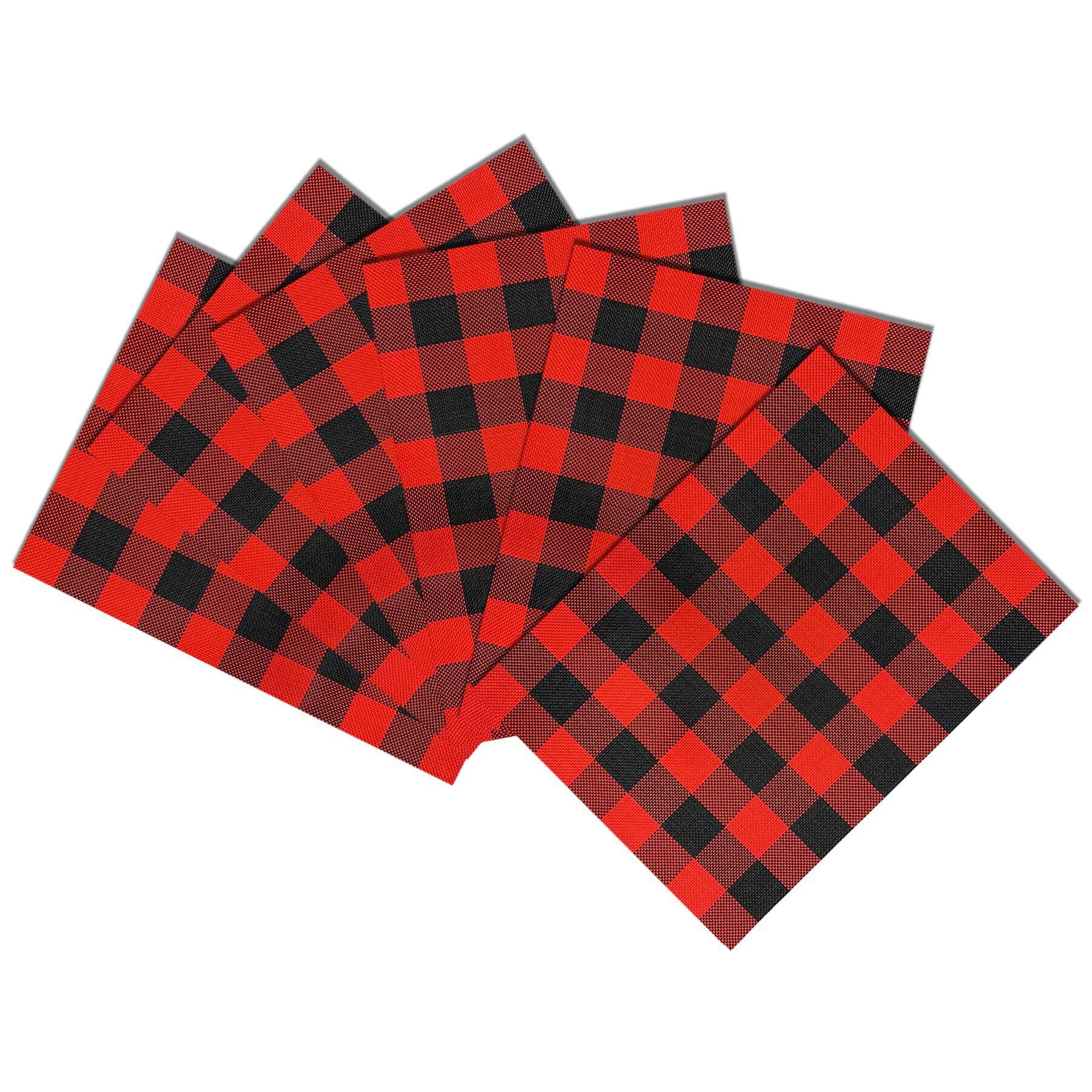 Set Of 6 Freeport Buffalo Check Plaid Placemats Red Black