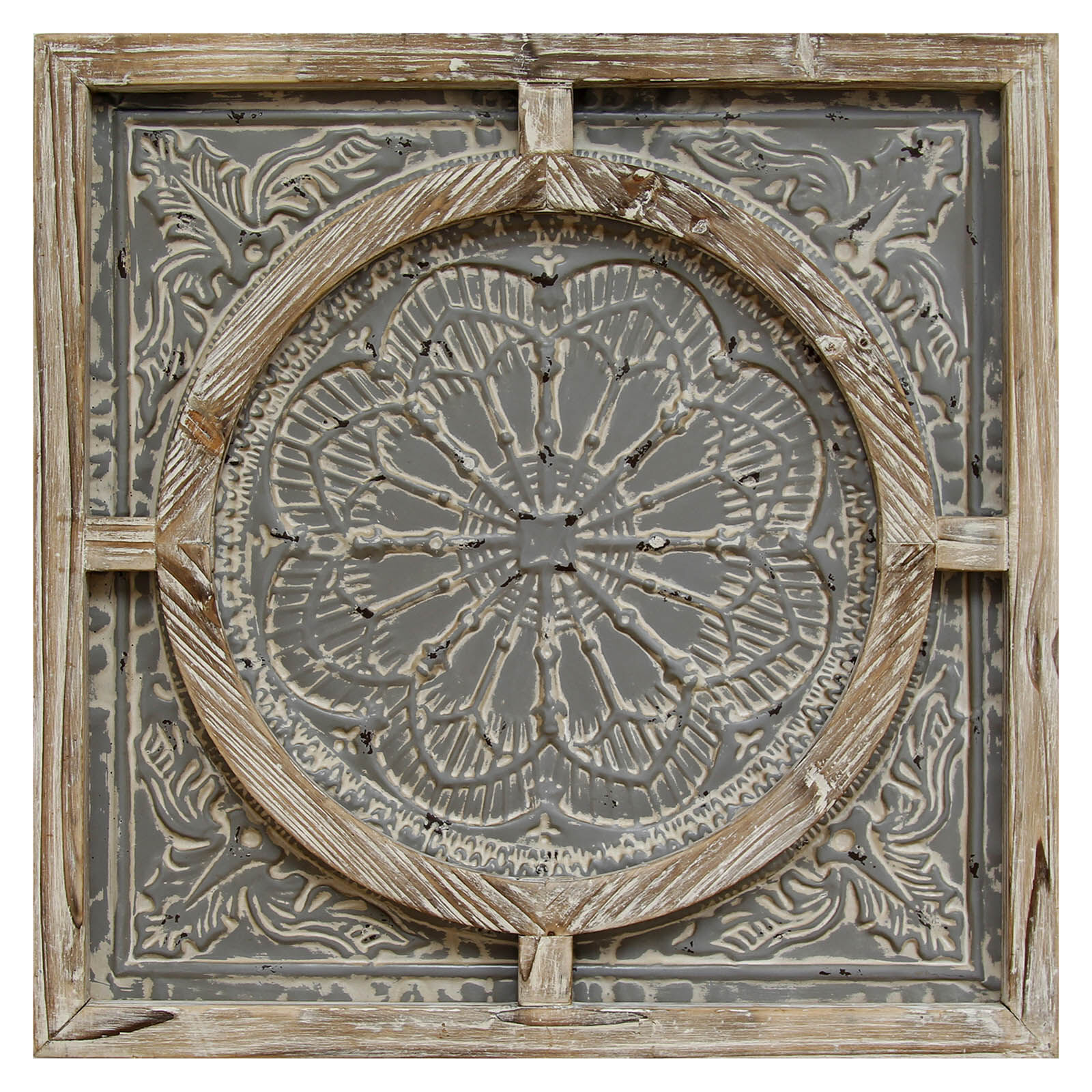 Wood Frame with Grey Metal Wall Decor