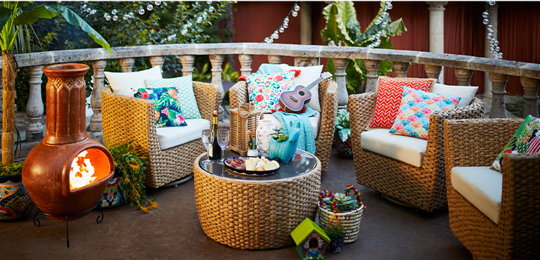 boho patio at home