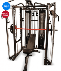 The Inspire Full Smith Cage System (AHF sale price $3,995, save $500) has a dual weight stack design and adjustable bench