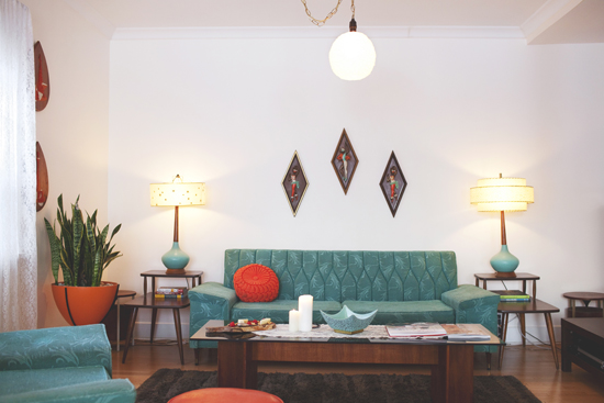kitschy living room color ideas for the midcentury home at in love turquoise sofa