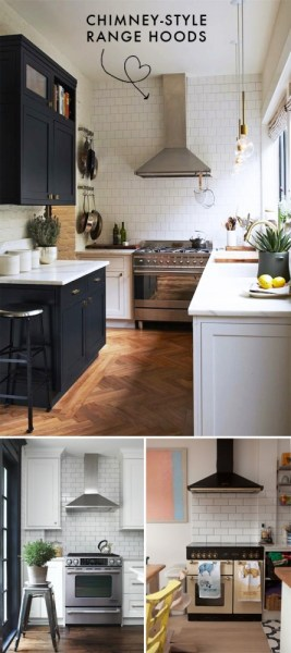 in a kitchen range hoods chimney Chimney-style range hoods // At Home in Love | At Home In Love