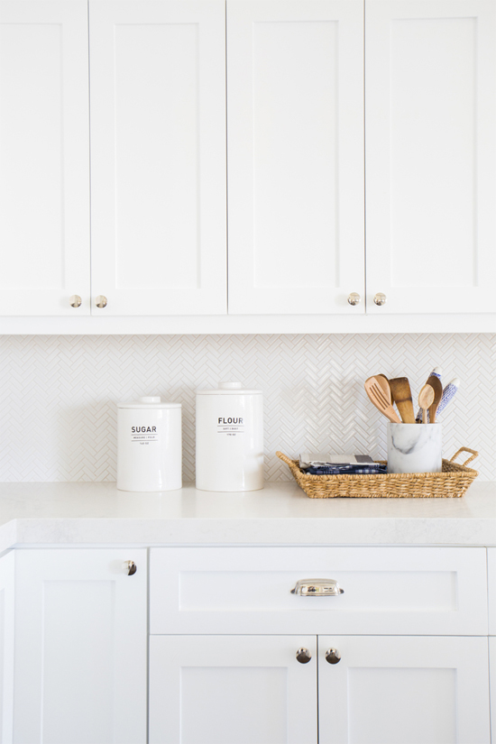 kitchen cabinets white fluorescent lights or greige at home in love and herringbone backsplash