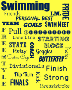 Yellow and Navy swim printable