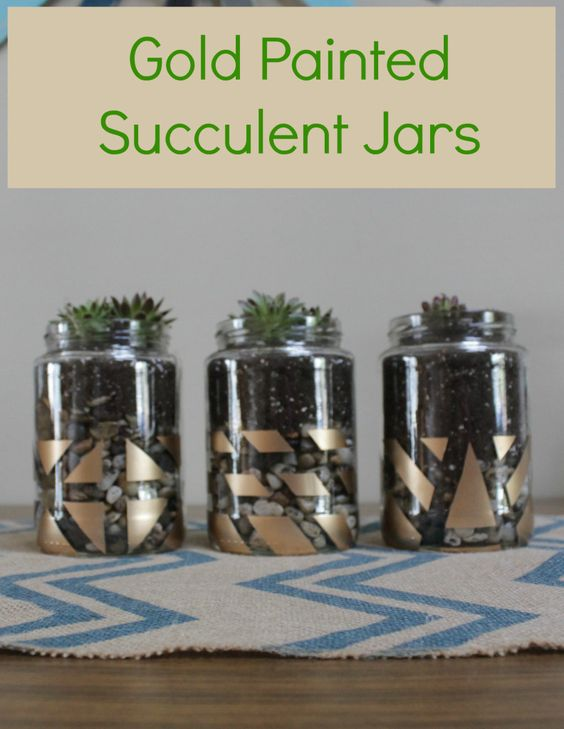 Gold Painted Succulent Jars