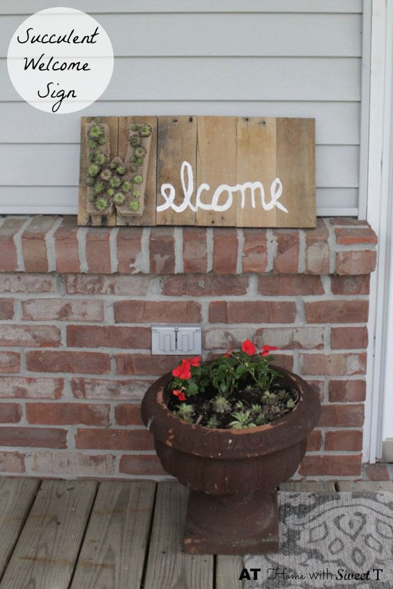 Succulent Welcome Sign