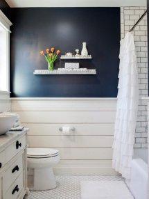 Shiplap Walls with Navy Bathroom