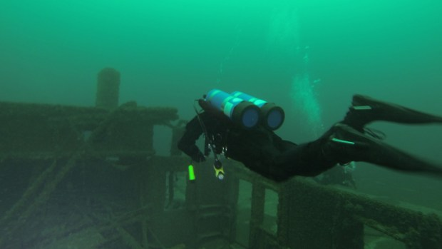 Andy Tidy over the wreckage of the Milwaukee Car Ferry
