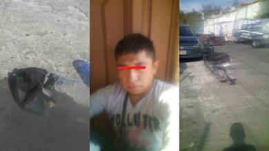 El detenido responde al nombre de Erick Francisco V. M., de 27 años de edad, a quien se le aseguraron una motoneta Itálica de color negro y una pistola, al parecer de postas