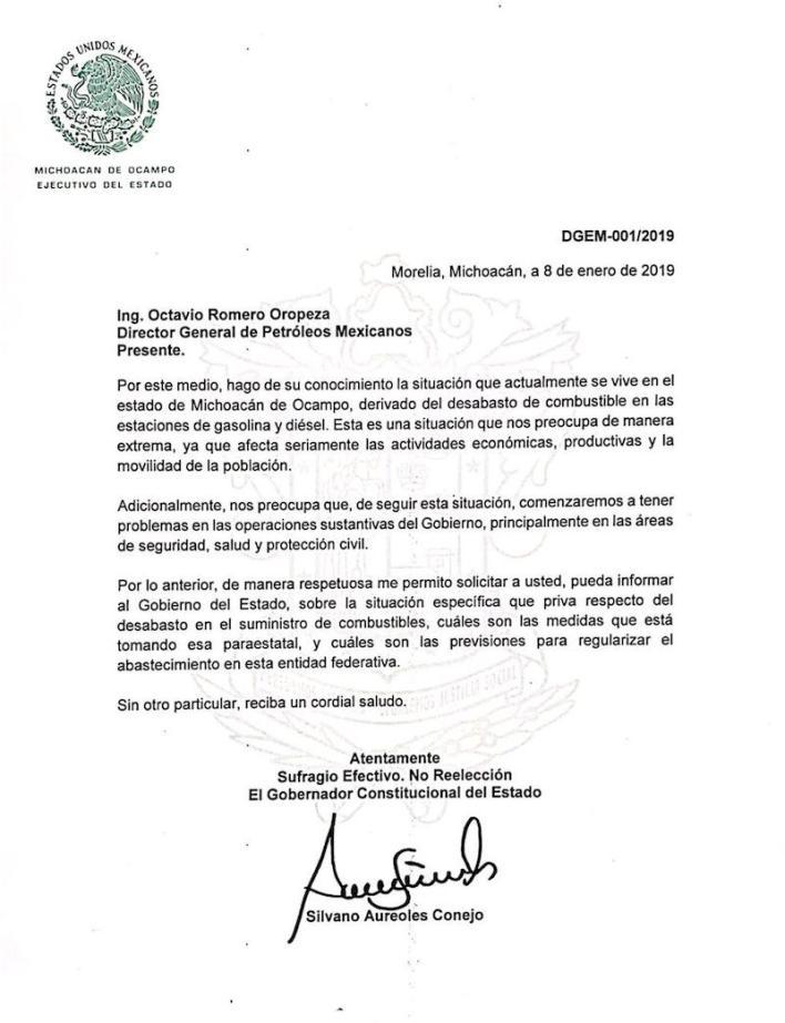 Para Aureoles Conejo, será importante recibir una respuesta formal de la paraestatal para tener certidumbre, pues a Michoacán está llegando menos del 50% de la gasolina necesaria y hay versiones en el sentido de que el desabasto se prolongará por 8 o hasta 15 días más