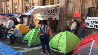 A decir del dirigente, Víctor Manuel Zavala, el plantón de mantendrá por tiempo indefinido (FOTO: FACEBOOK)