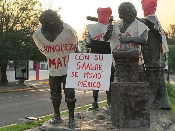 vandalismo, escultura, Constructores de la Ciudad de Morelia