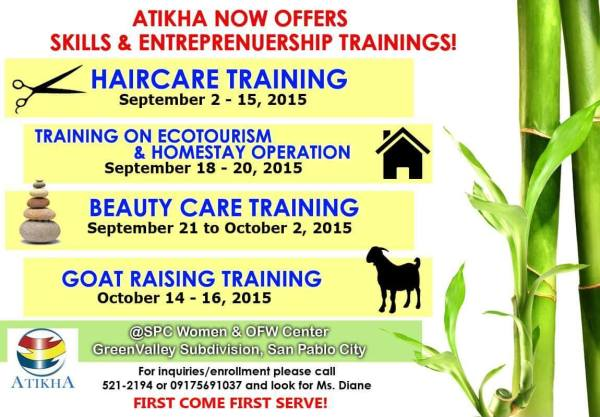 Atikha now offers Skills & Entrepreneurship Trainings