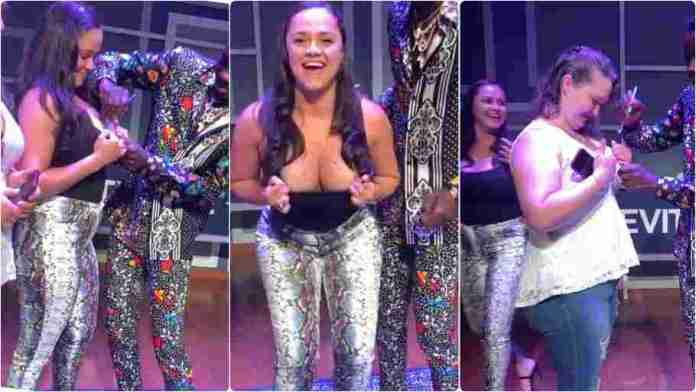 Women beg top Ghanaian actor to sign his autograph on their chests (video)