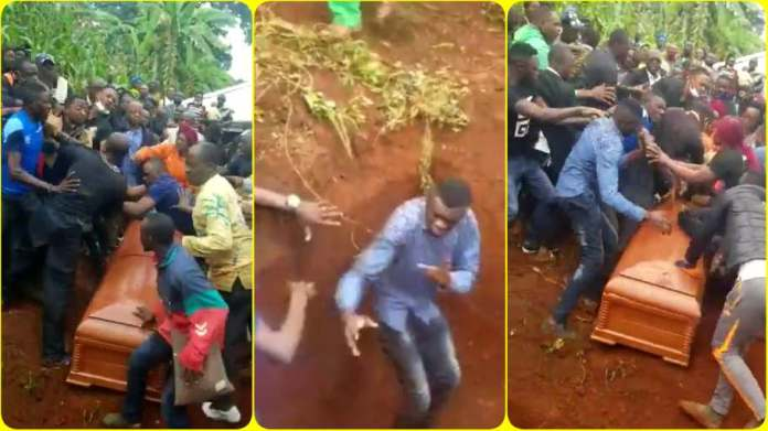 Fight erupts in a burial