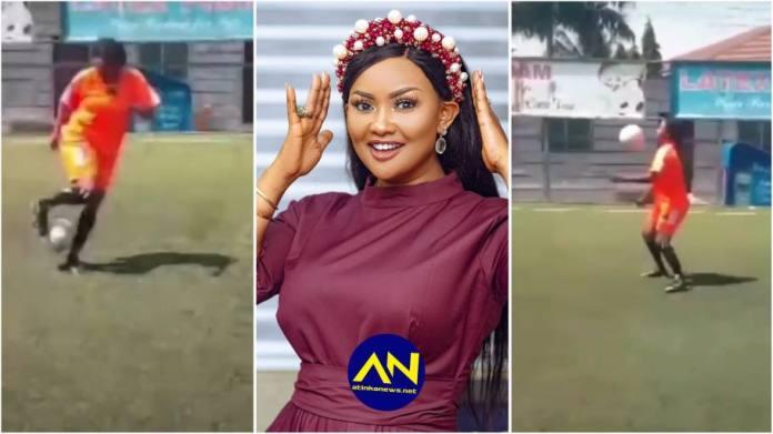 Nana Ama McBrown playing football