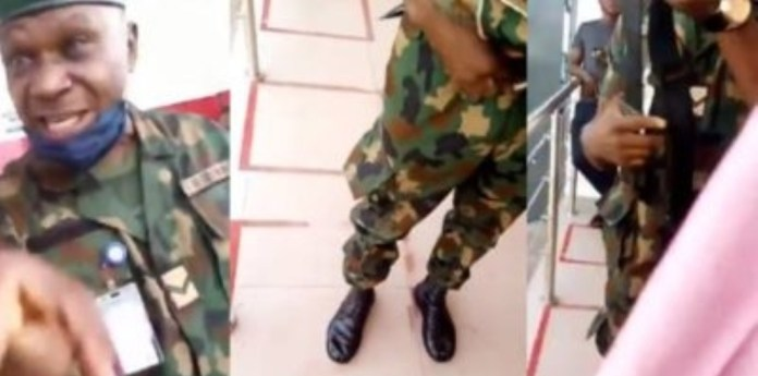 Nigerian soldier in trouble for flogging lady