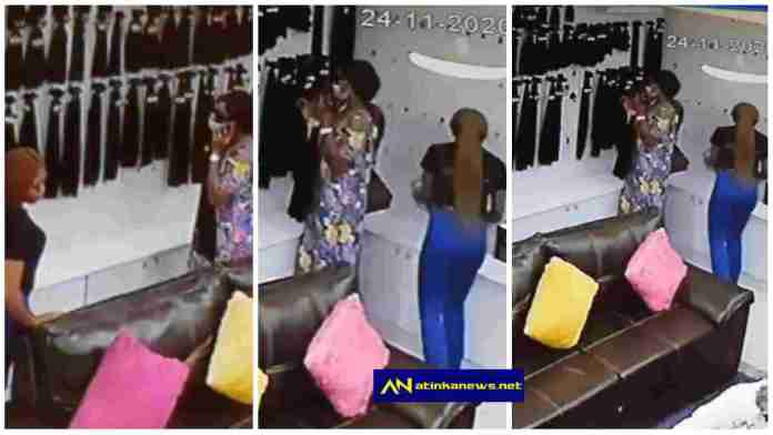 Lady caught on camera stealing hair worth N200k