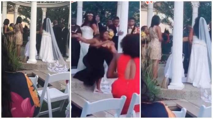Pregnant side chick crashes wedding