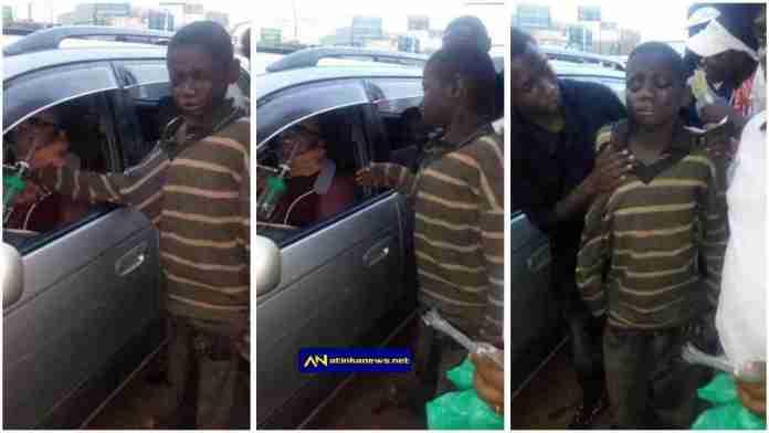 Child beggar broke down in tears