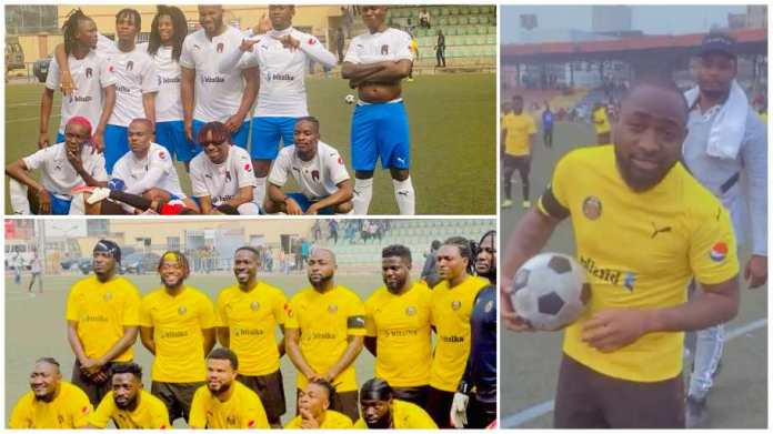 Davido and music stars storm Lagos for epic football match