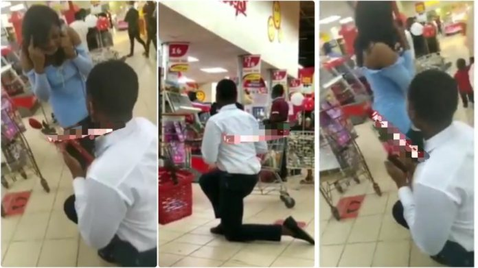 lady lady walks out on man who proposed to her at a mall