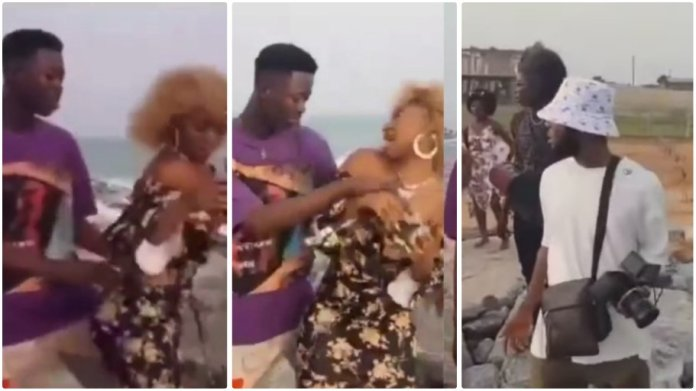 Lady leaves video shoot after upcoming musician squeezes her