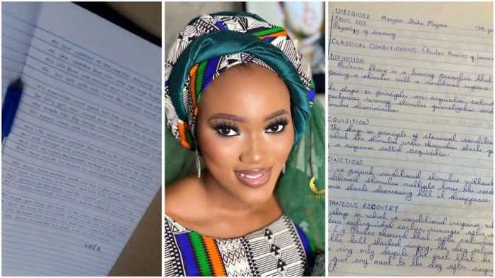 Nigerian lady challenges people to handwriting contest