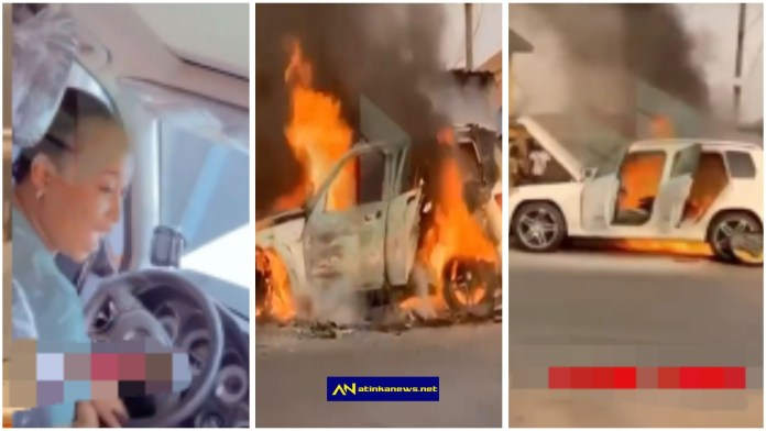 Lady's Mercedes benz worth ₦9m burnt to ashes