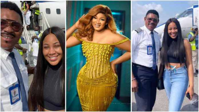 Omotola Jalade reacts after her husband Ekeinde flew BBNaija Erica in his plane
