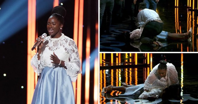 Moment Nigerian singer, Funke Lagoke fainted on stage while being judged as an American Idol contestant [Video]