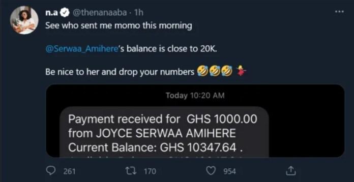 Nana Aba Anamoah 'shakes the internet' as she flaunts her balance in her MoMo wallet