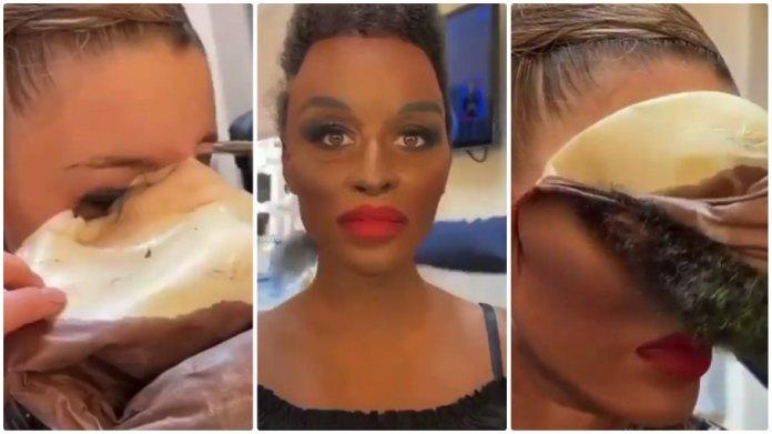 Bulgarian singer Mxiaela Marinova used makeup and prosthetics to look like Nomcebo Zikode