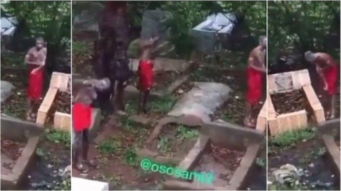 Sakawa boys  bathing at a cemetery