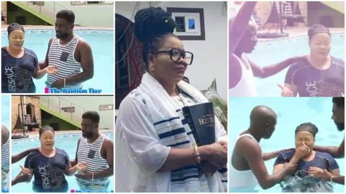 Nana Agradaa was baptised in a swimming pool