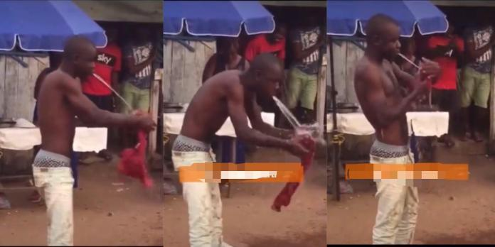 Man performs wonders as he washes a shirt with water charmed from his stomach