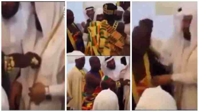 """Ghanaian Chief exchange golden chain with """"Arab Jalabia""""; video drops online"""